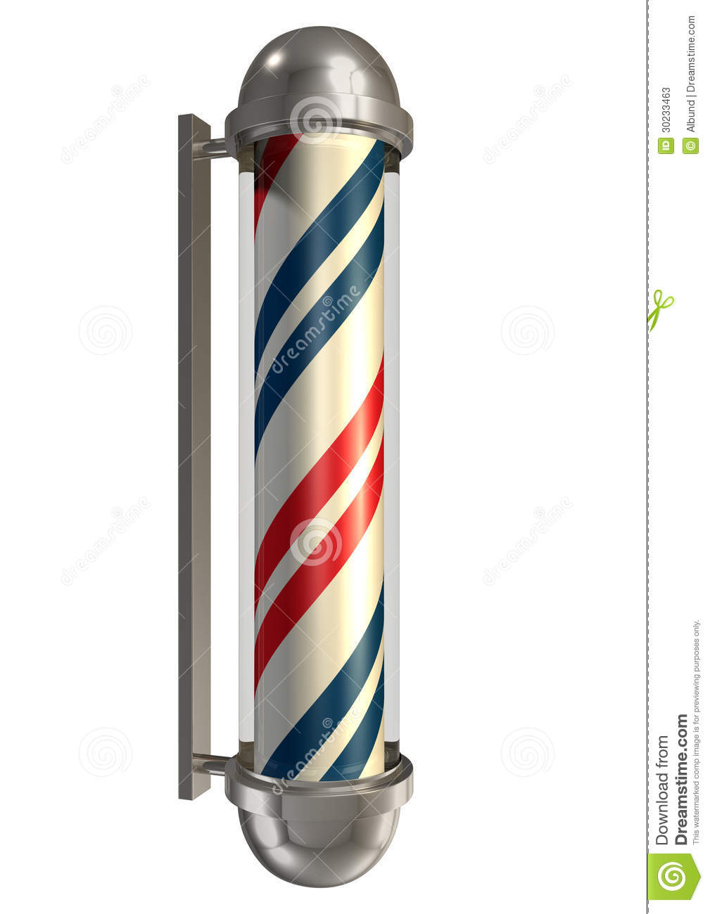 Regular vintage barbers pole in chrome blue white and red on an