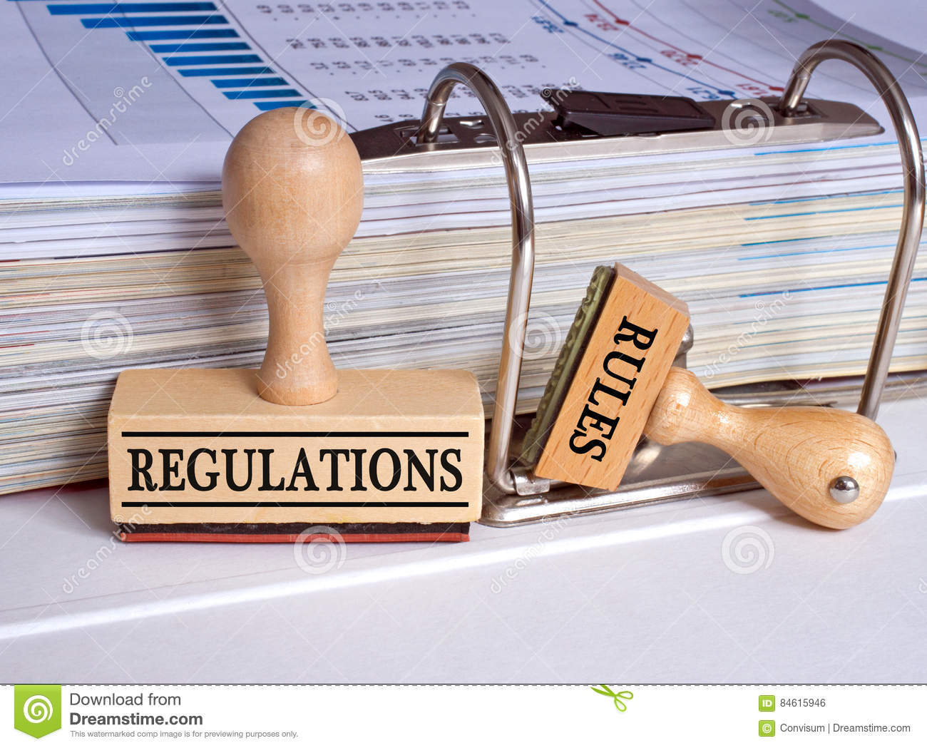 Regulations and Rules - two stamps in the office