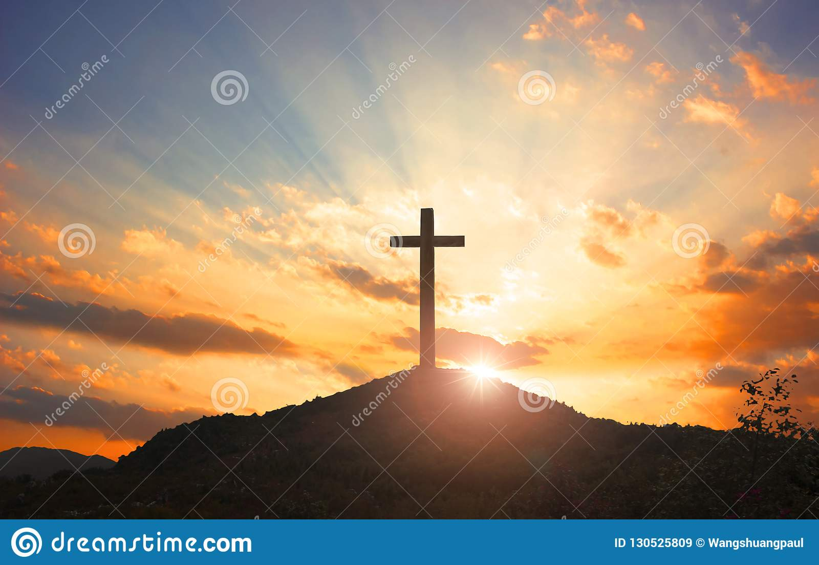 Christmas Concept: Crucifixion Of Jesus Christ Cross At