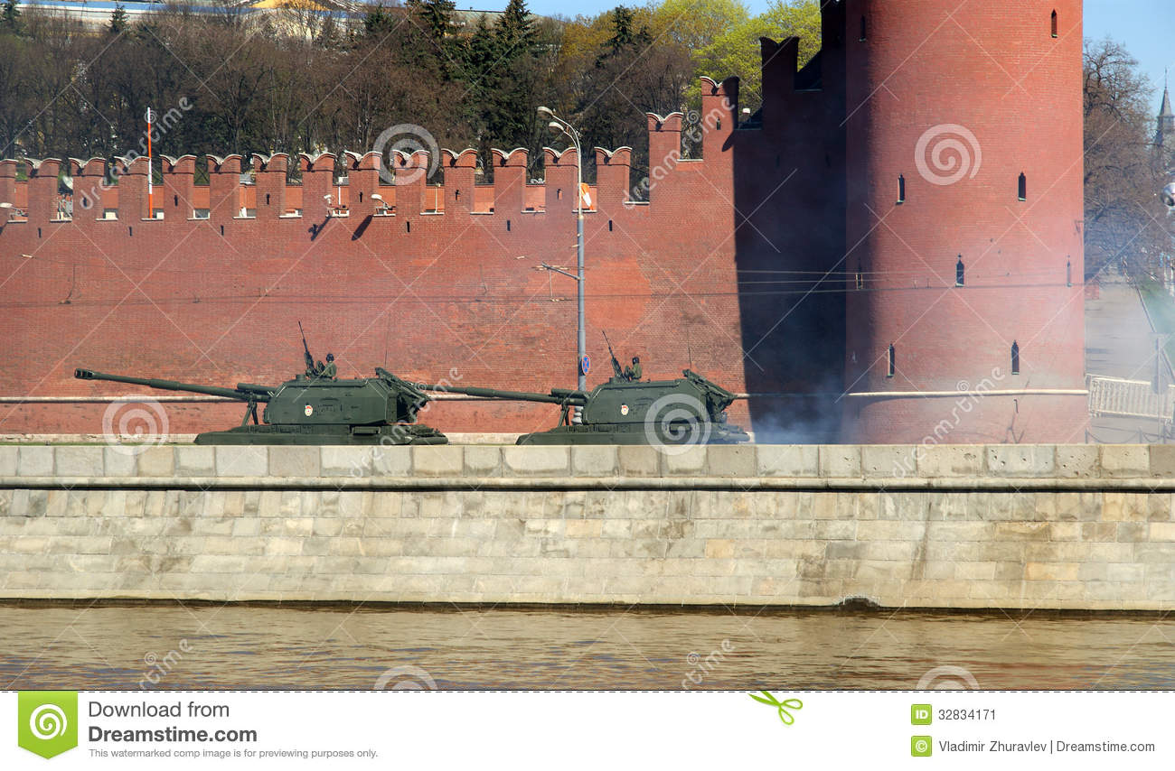 Rehearsal of military parade on red square moscow russia editorial
