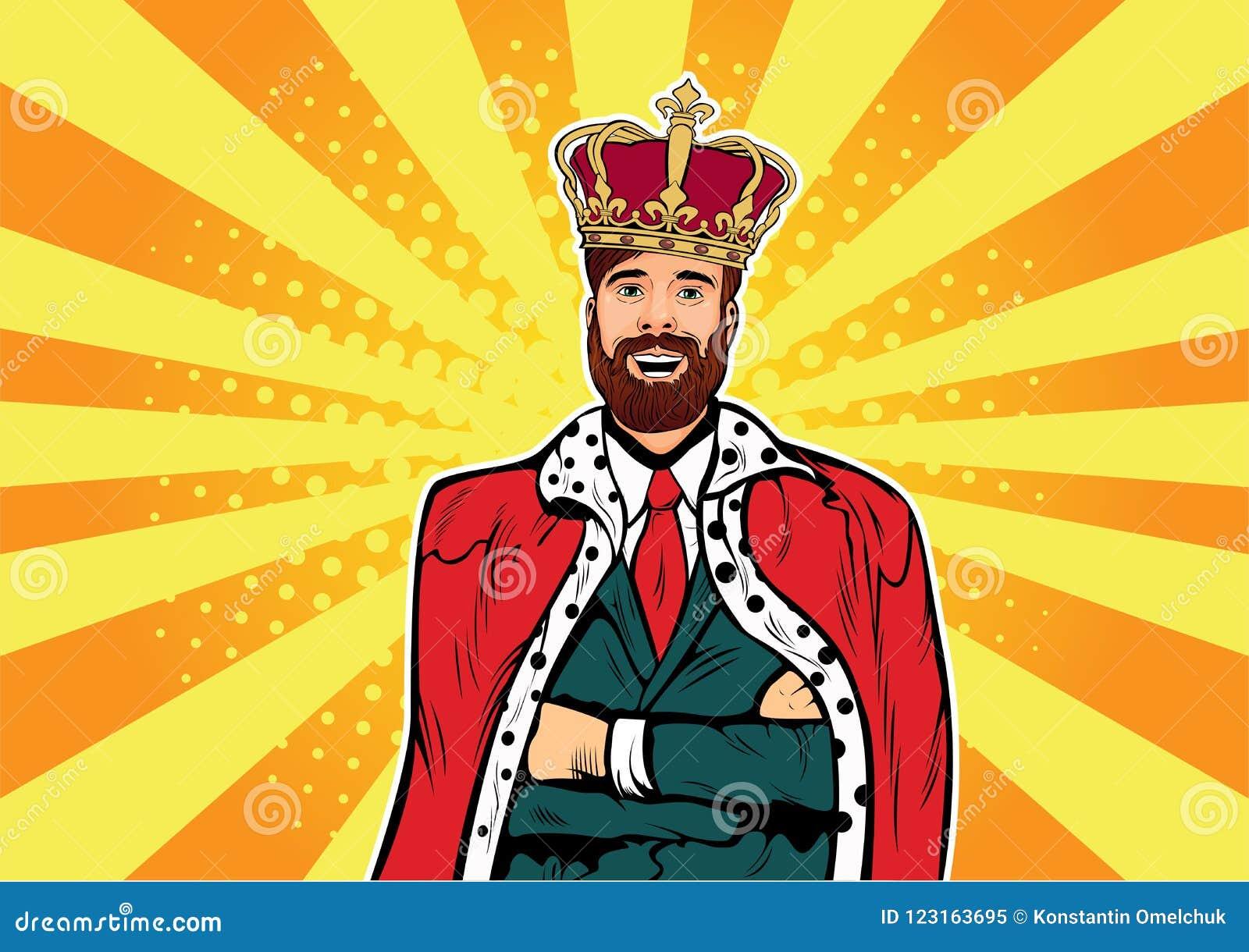 Rei do negócio do moderno Homem de negócios com ilustração do pop art da barba e da coroa Conceito do líder