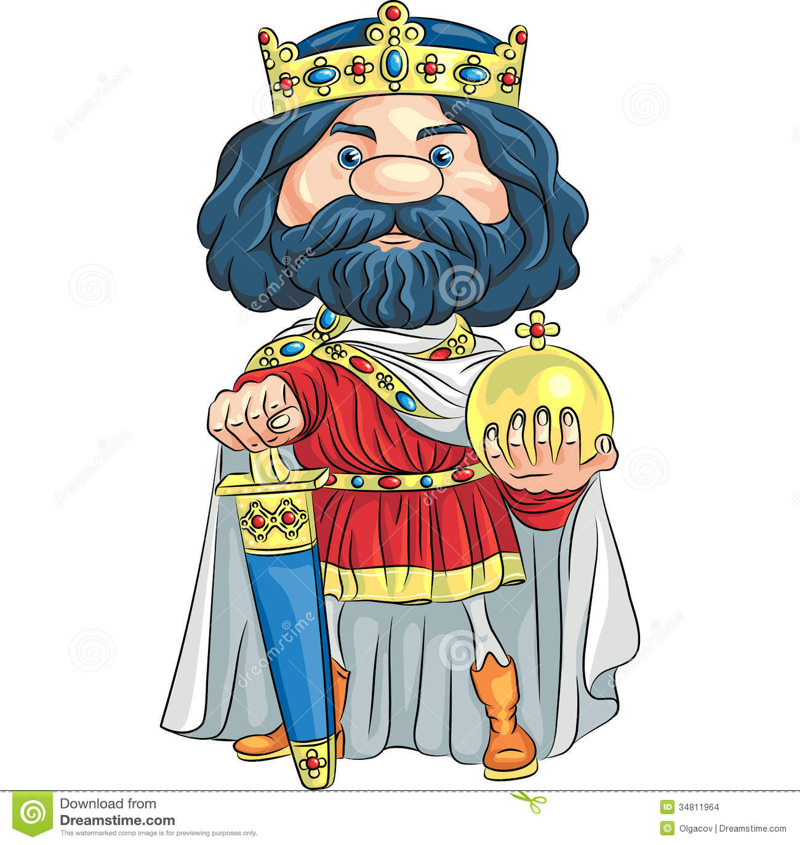 rei dos desenhos animados do vetor com uma coroa dourada