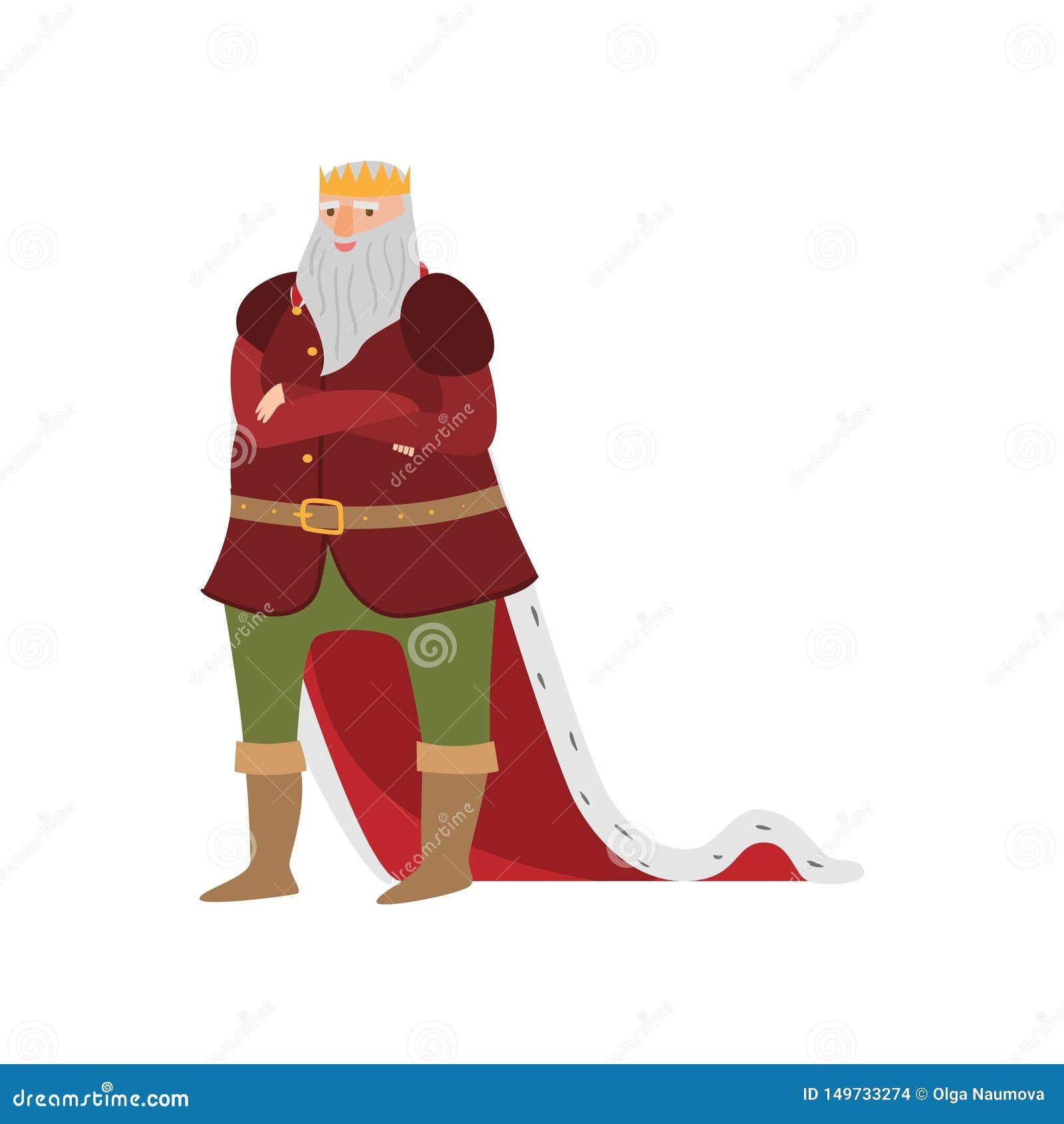 Rei real de sorriso feliz do conto de fadas na roupa longa