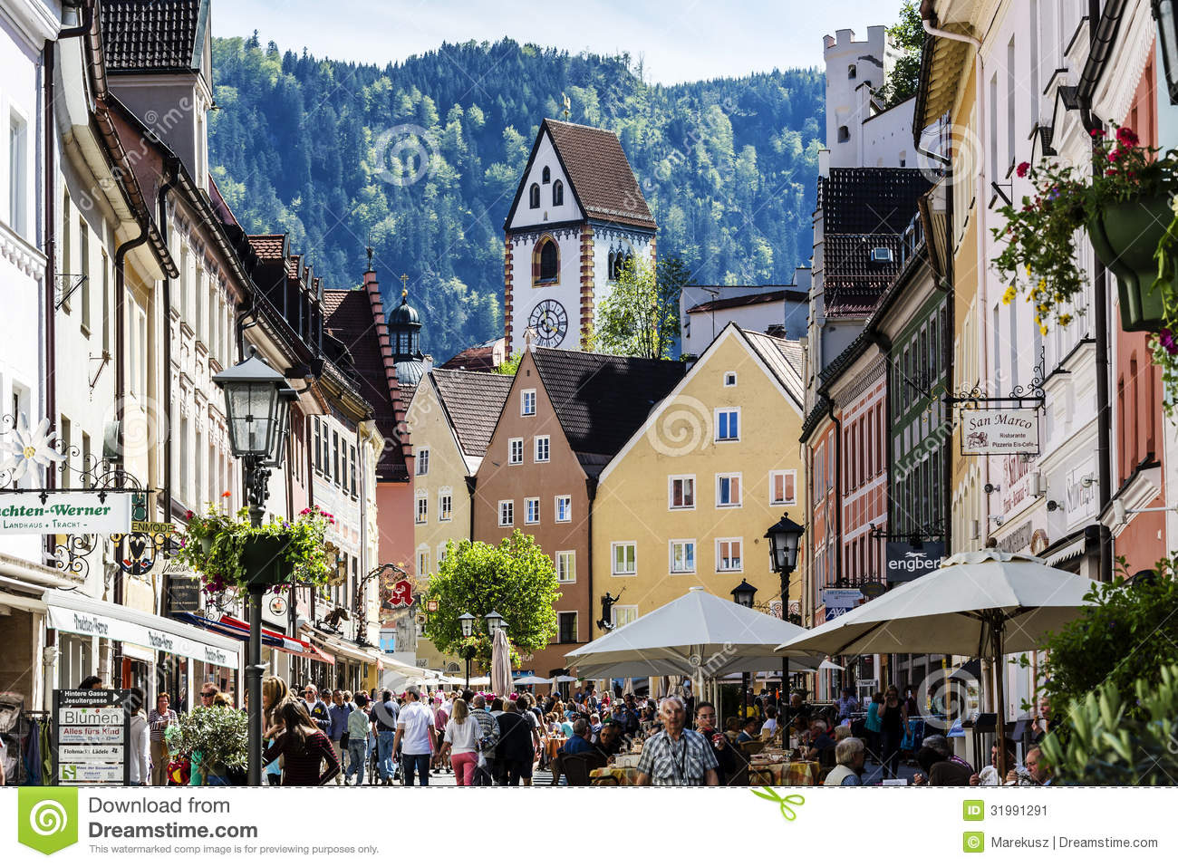 FUSSEN - MAY 18: Unidentified tourists visits Reichenstrasse ...