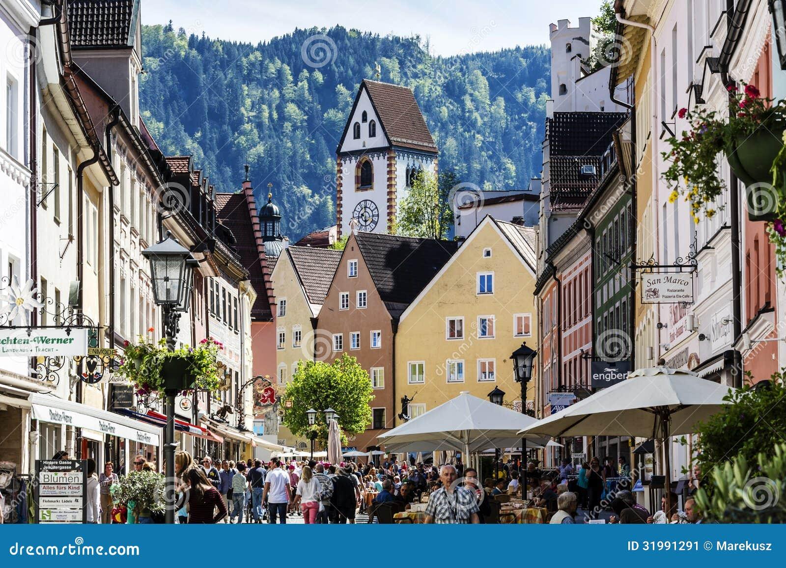 FUSSEN - MAY 18: Unidentified tourists visits Reichenstrasse ...