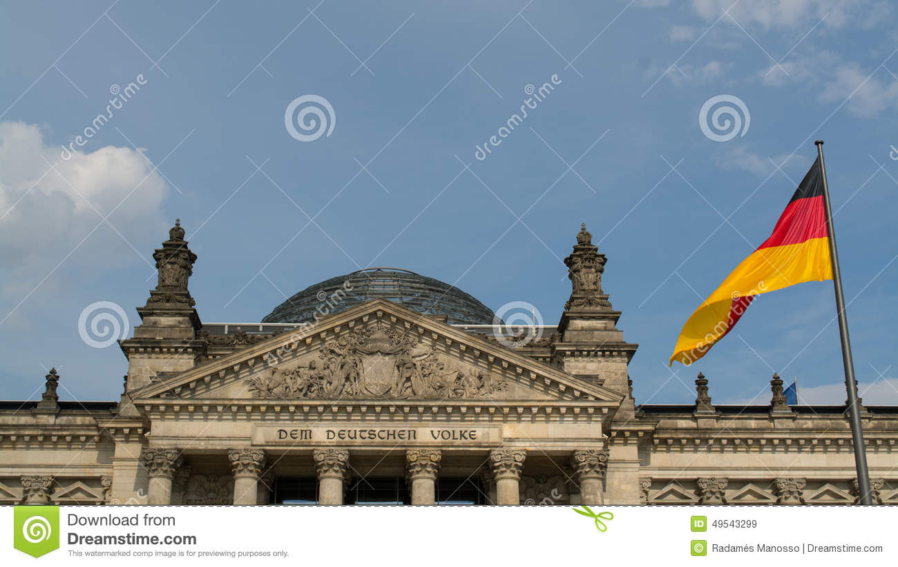 Reichstag with the german flag