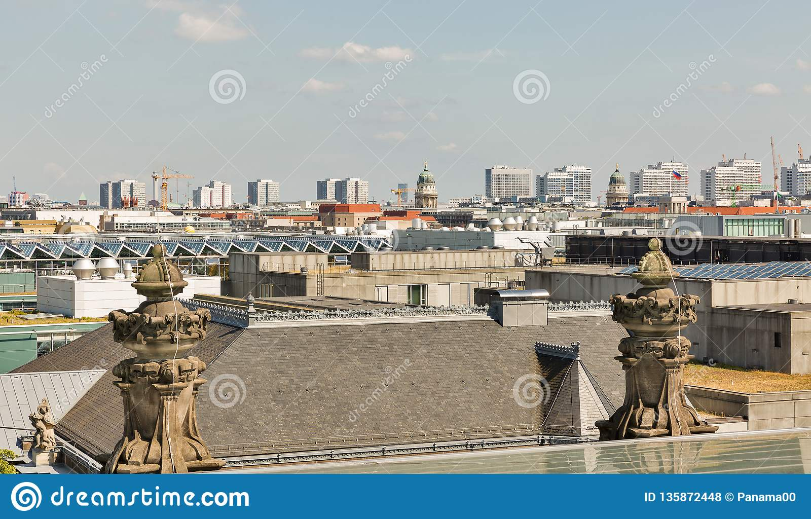 Berlin cityscape from Reichstag roof, Germany
