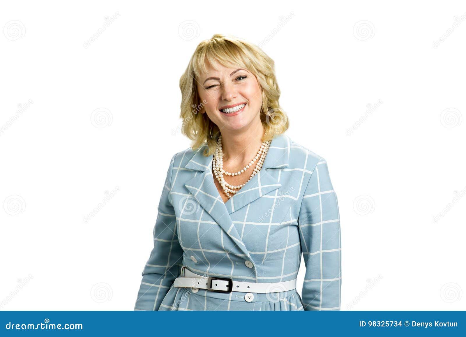 Reifer Dame Twinkling auf weißem Hintergrund