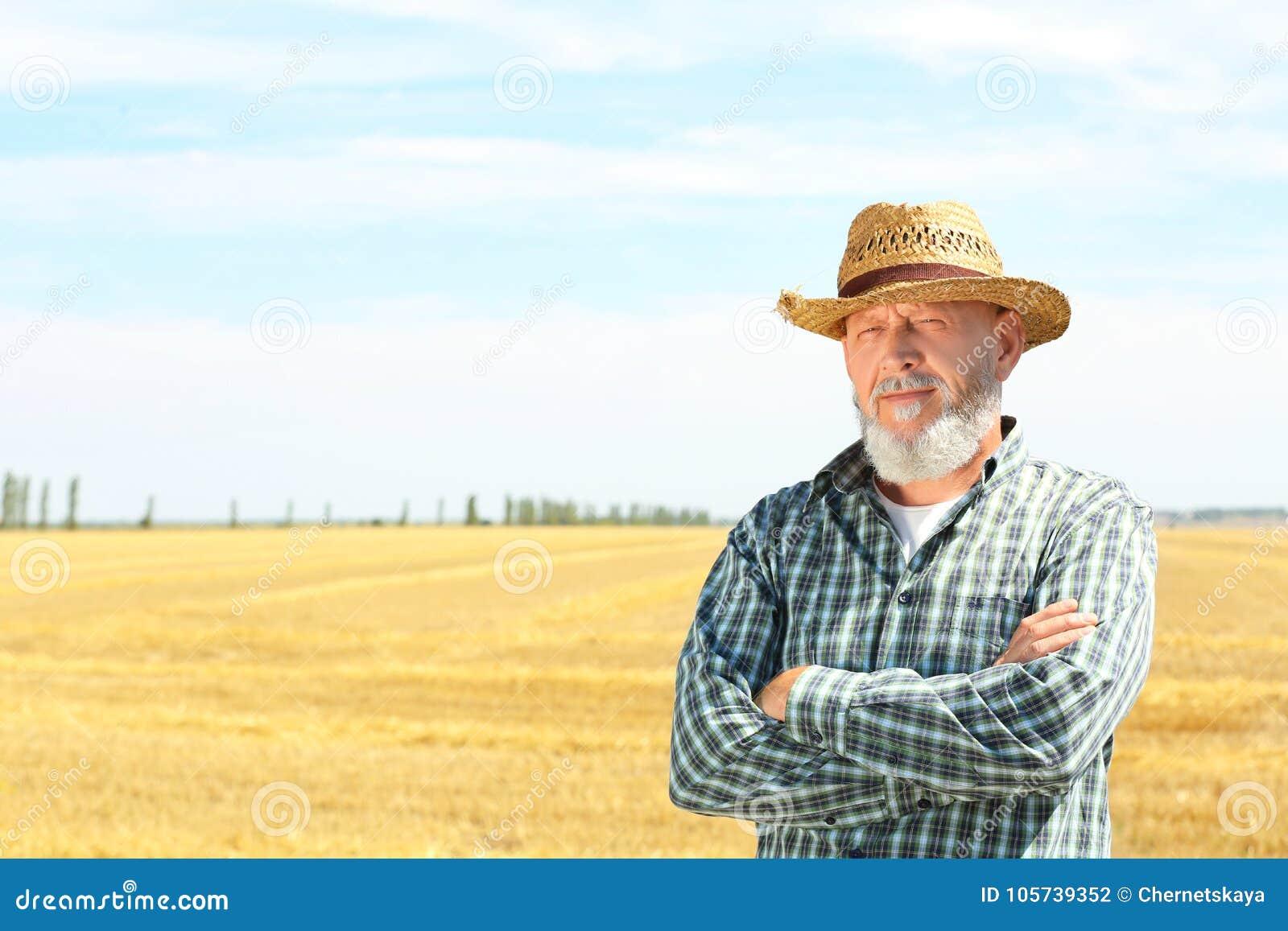 Reifer Landwirt, der auf dem Gebiet steht