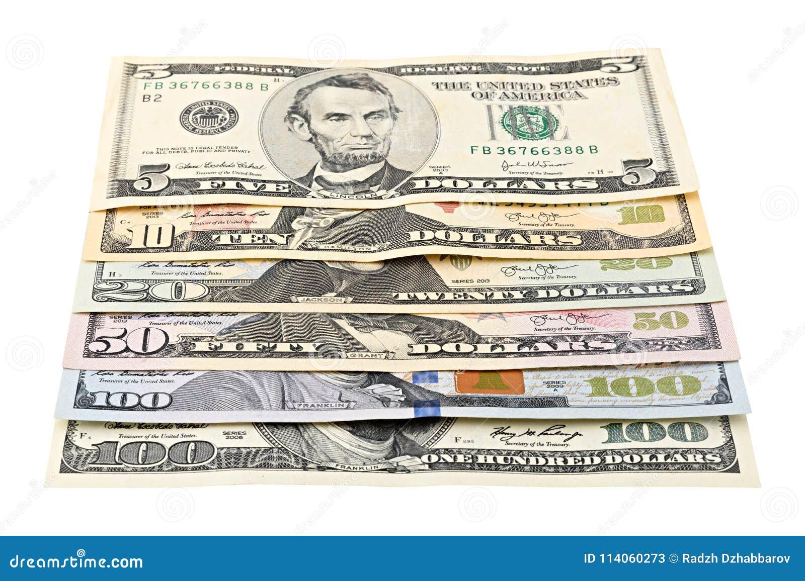 Reihe Amerikanisches Geld 5,10, 20, 50, Neuer 100 Dollarschein Auf ...