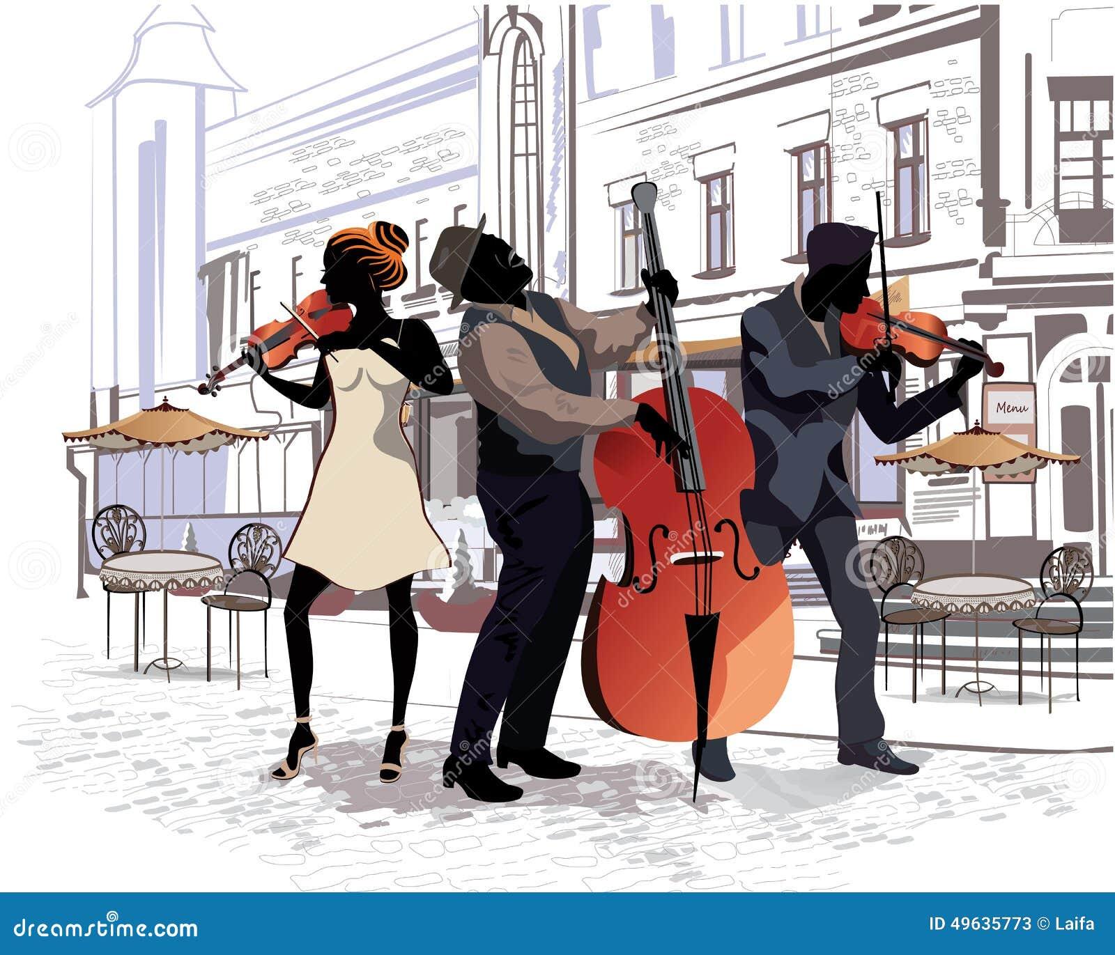 Reihe der Straßen mit Leuten in der alten Stadt musiker