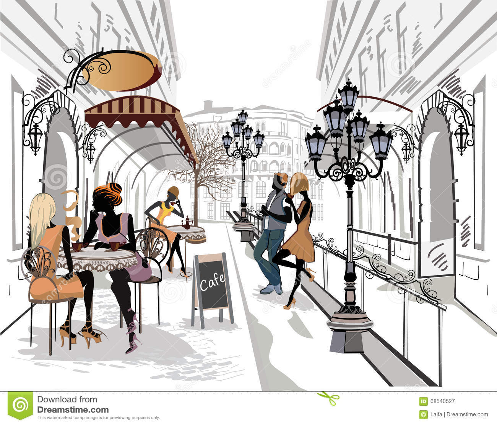 Reihe der Straßen mit Musikern in der alten Stadt