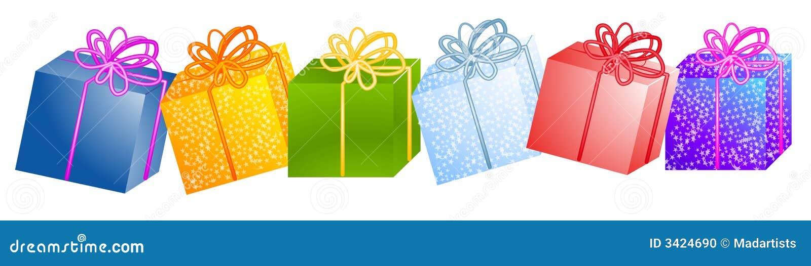 Weihnachtsgeschenke Clipart.Reihe Der Weihnachtsgeschenke Clipart Stock Abbildung Illustration