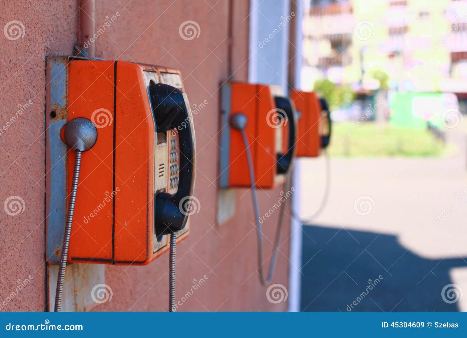 Reihe von allgemeinen Münztelefonen