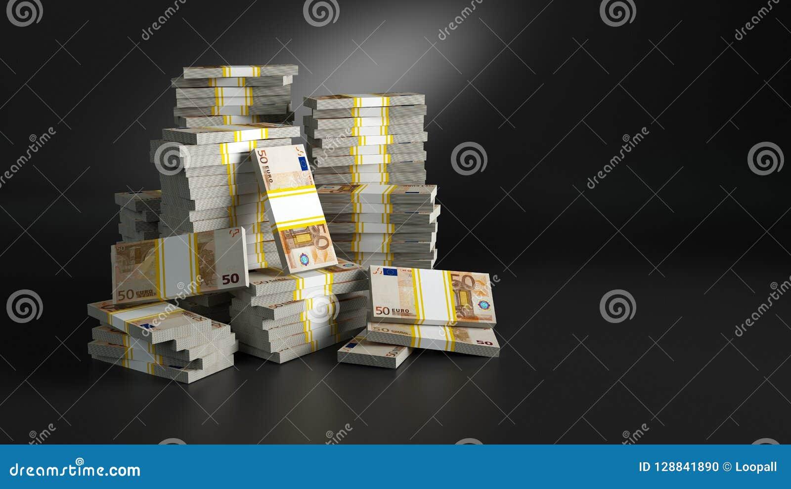 Reihen mit Dollar Haufen des Papiergeldes