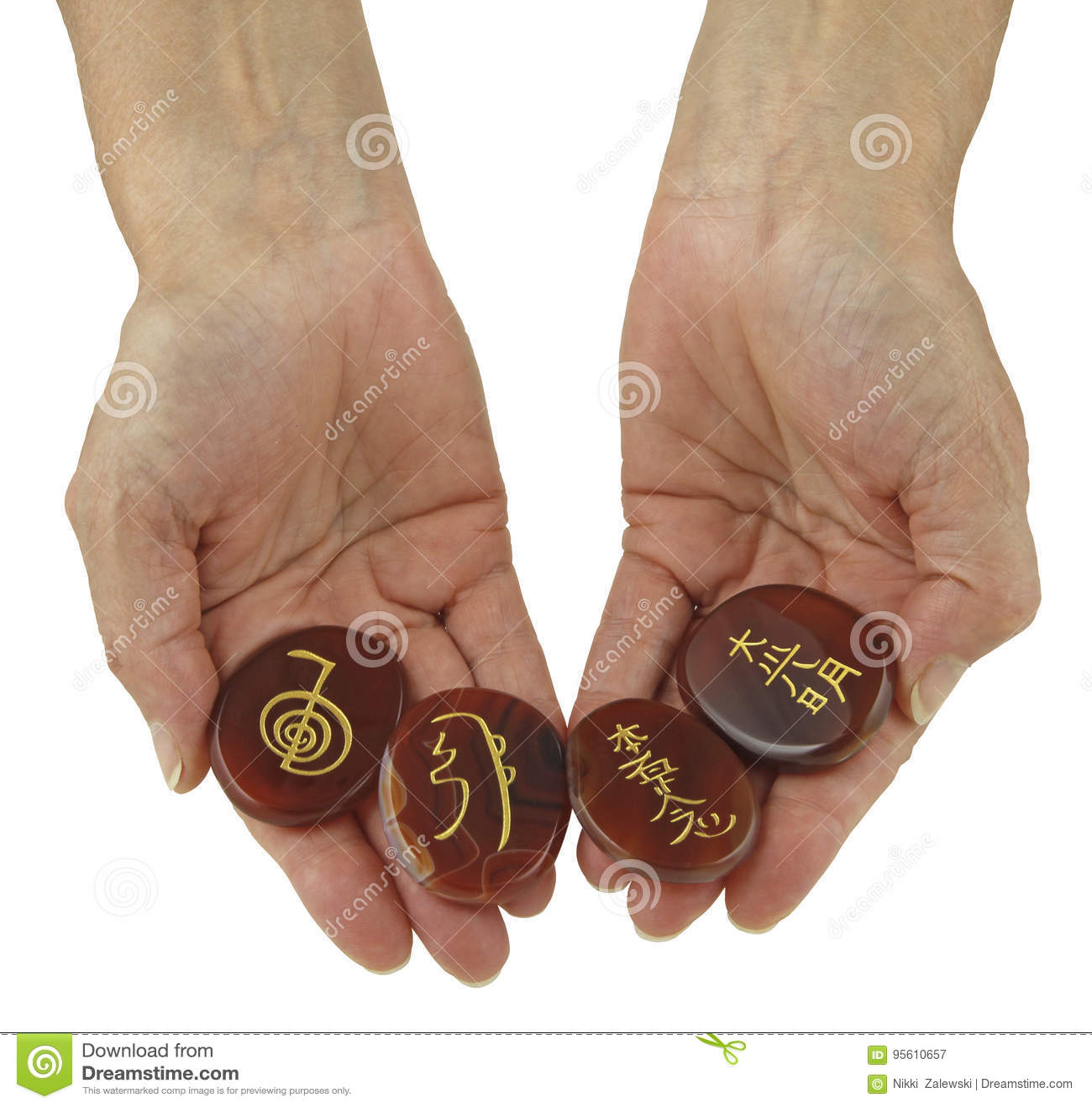 Reiki Symbols etched onto polished Carnelian stones