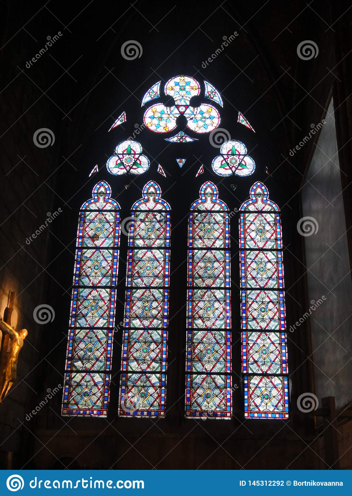 Reims, France - august 2011 : stained glass window of the Notre Dame cathedral where the kings of France were crowned