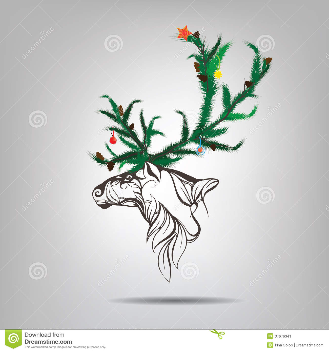Christmas Tree Made Of Deer Antlers: Reindeer With Antlers Of A Christmas Tree. Vector