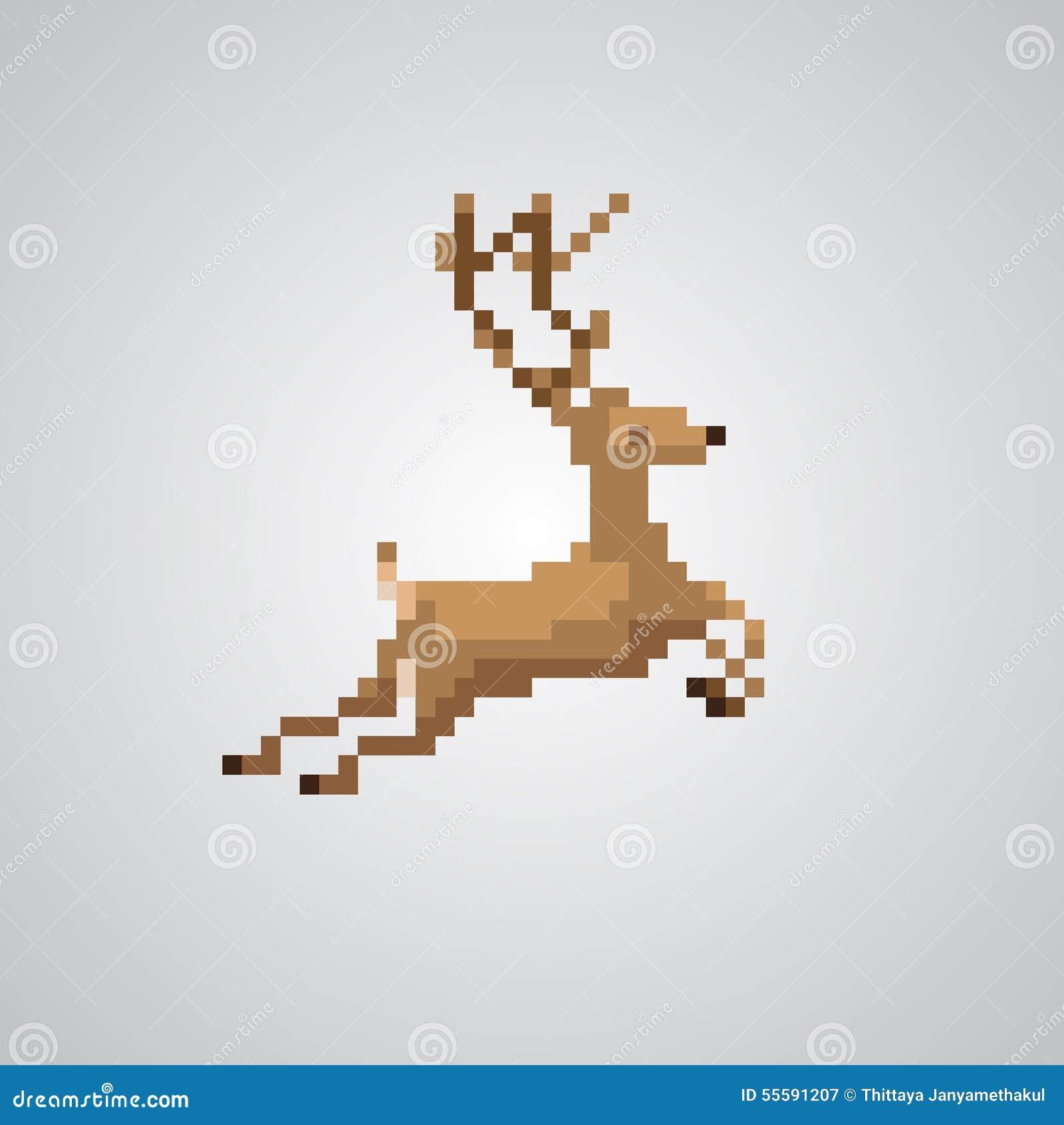 Reindeer 8-bit Pixel Style Vector. Stock Vector - Image: 55591207
