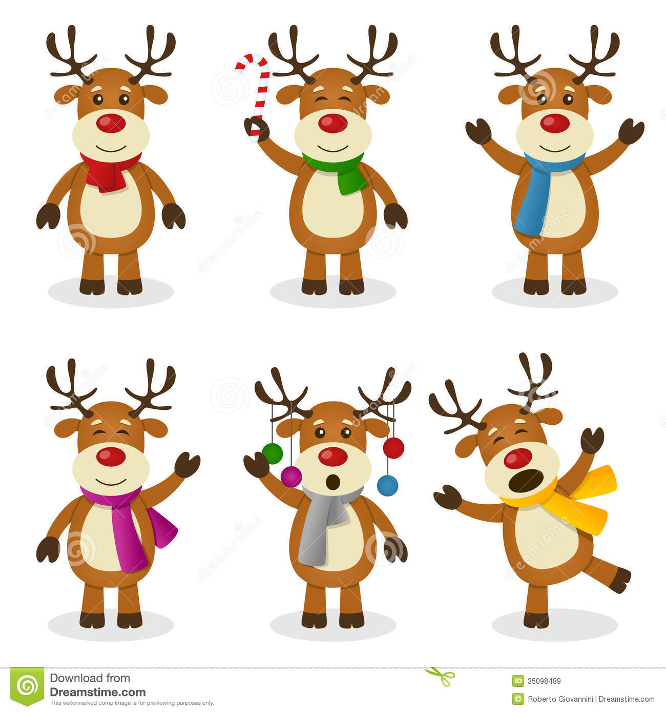 Reindeer Cartoon Christmas Set Stock Vector