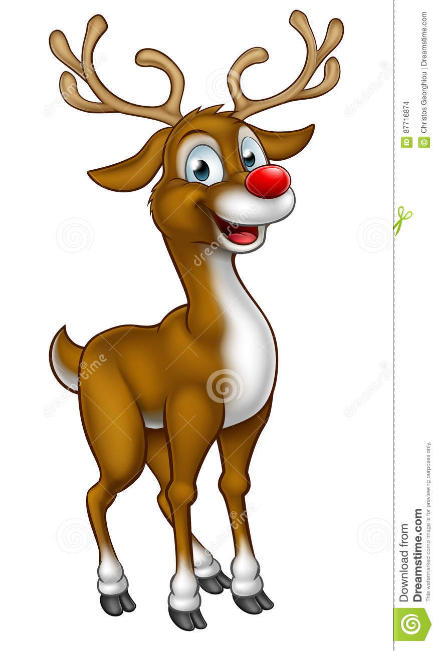 reindeer christmas cartoon character vector illustration