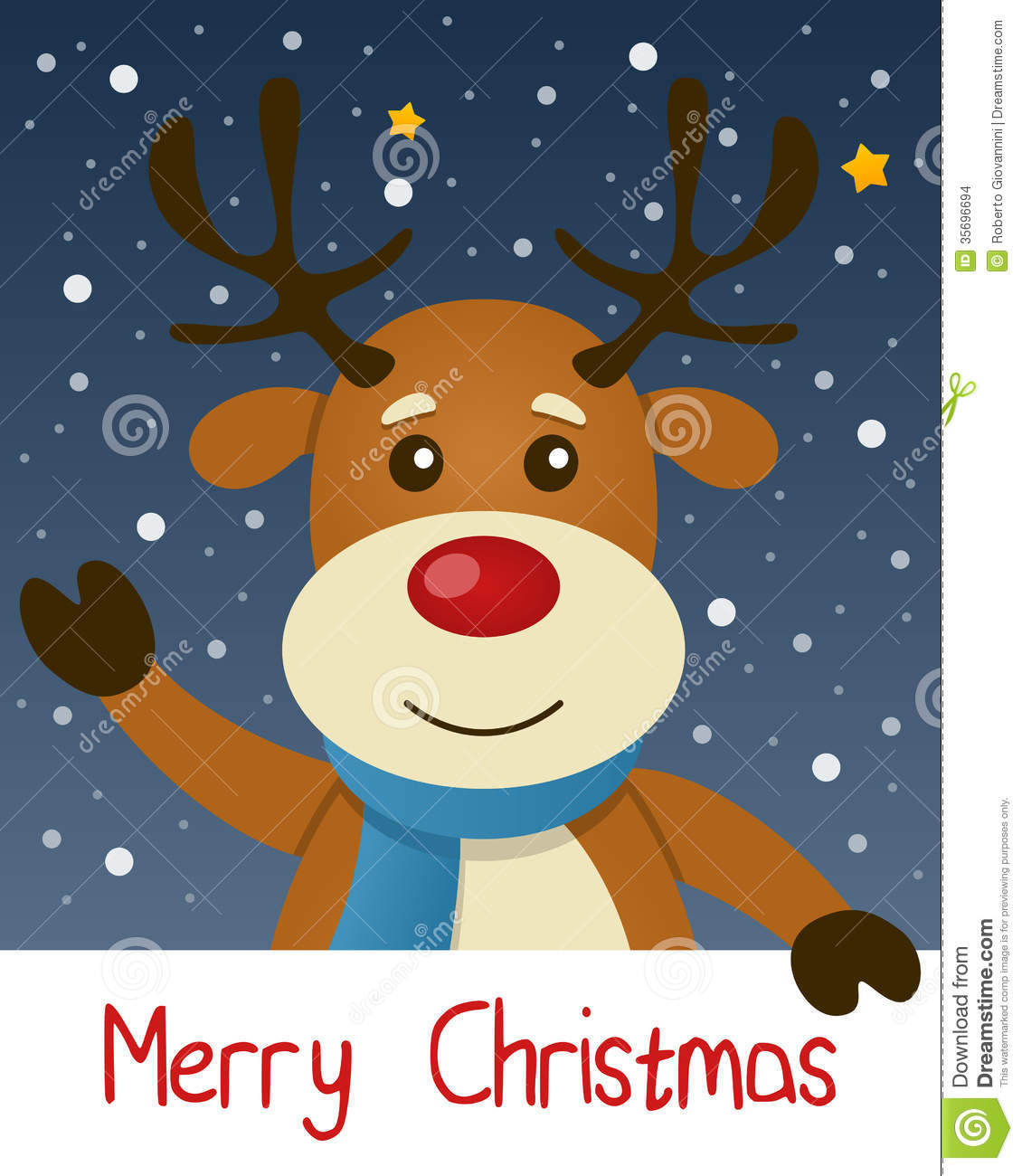Reindeer Christmas Greeting Card Stock Images - Image: 35696694