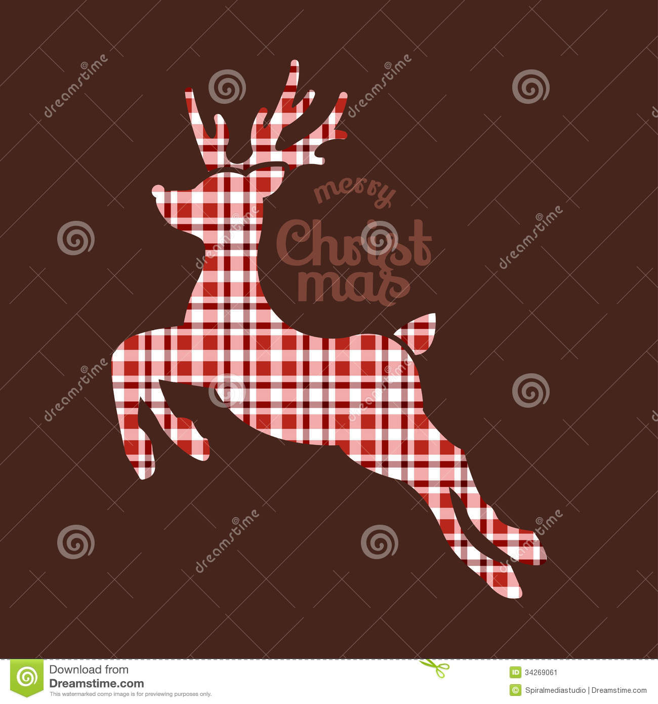 Reindeer Christmas In Plaid Fabric Stock Image - Image ...