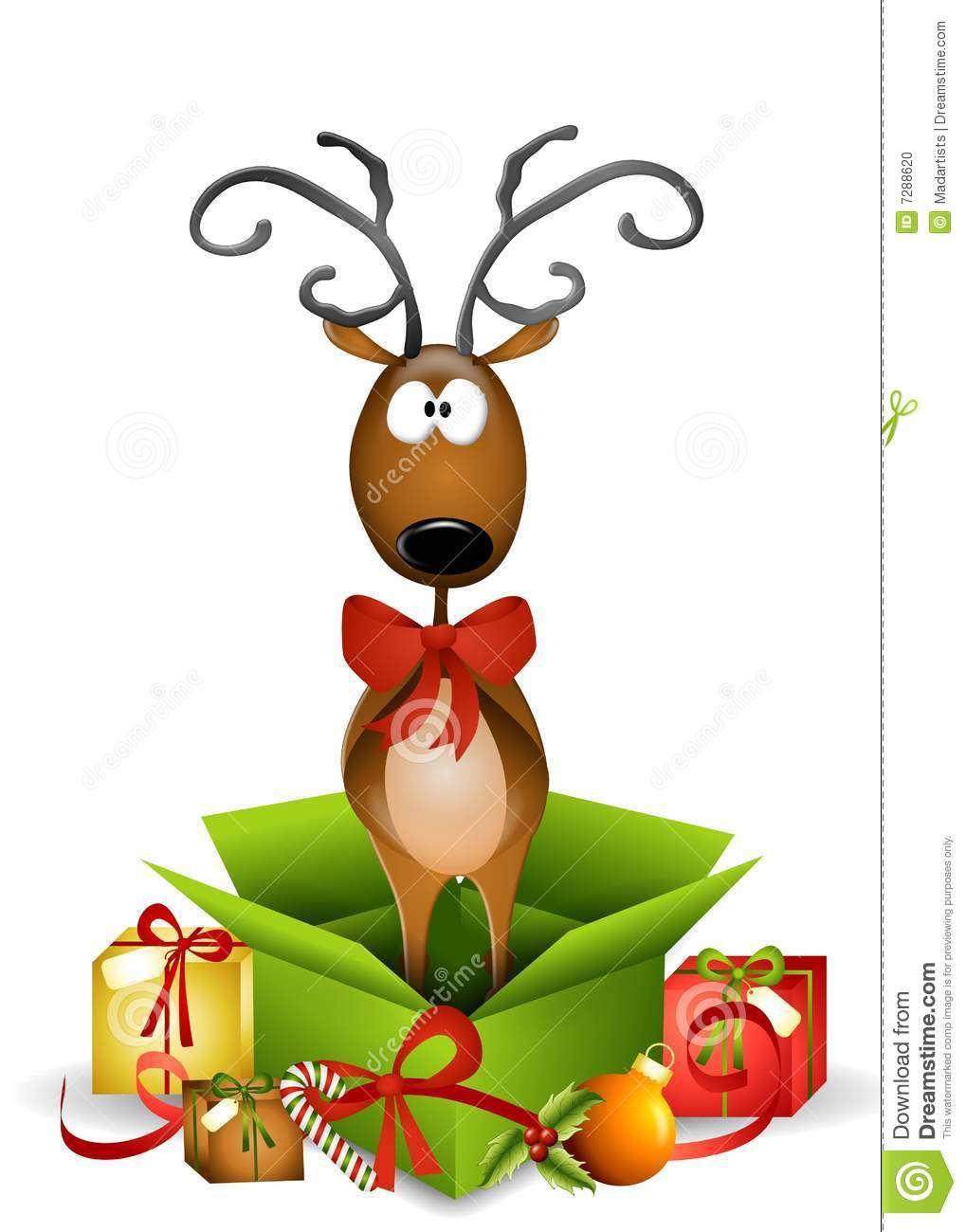 An illustration featuring a reindeer standing in an unwrapped ...