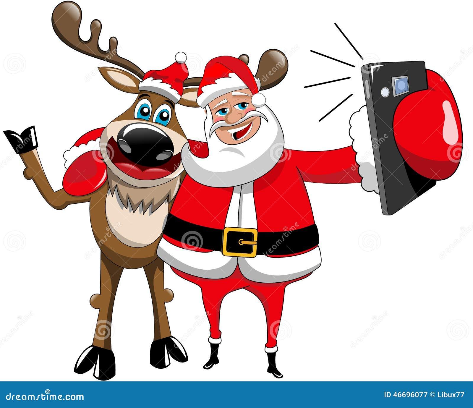 reindeer christmas santa claus selfie hug isolated stock. Black Bedroom Furniture Sets. Home Design Ideas