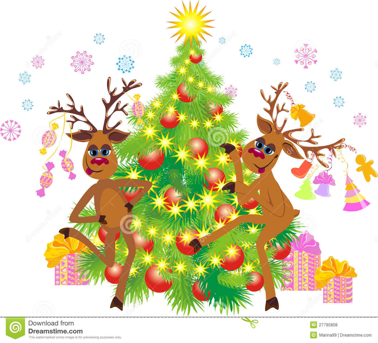 reindeer dancing at a christmas tree royalty free stock
