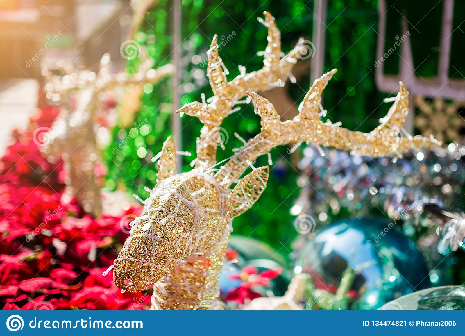 Reindeer decorated with blurry red poinesettia tree for christmas holiday background. New Year holidays background stock image