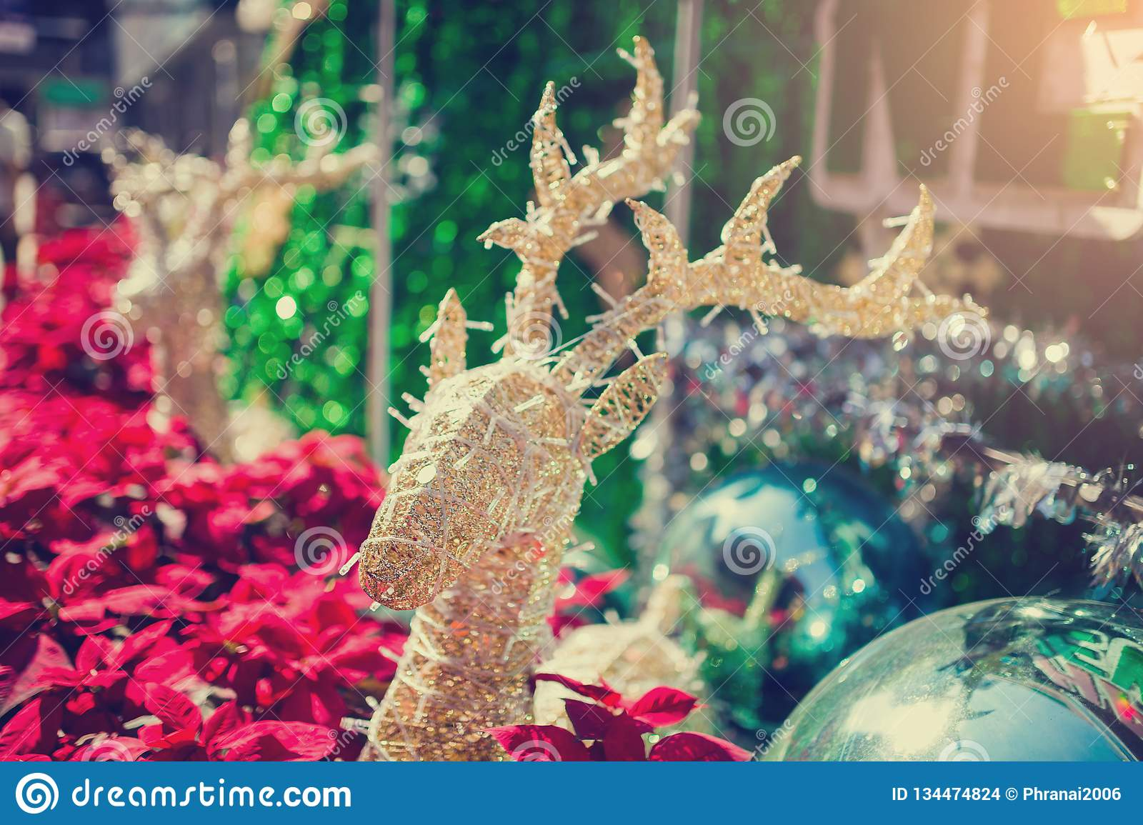Reindeer decorated with blurry red poinesettia tree for christmas holiday background. New Year holidays background stock images