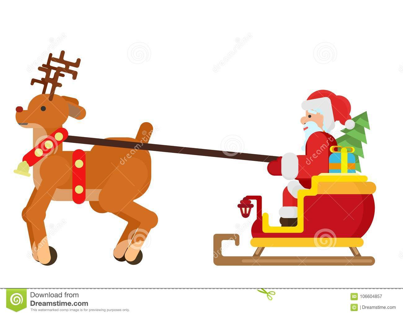 A reindeer drives a sleigh with Santa Claus and a Christmas tree
