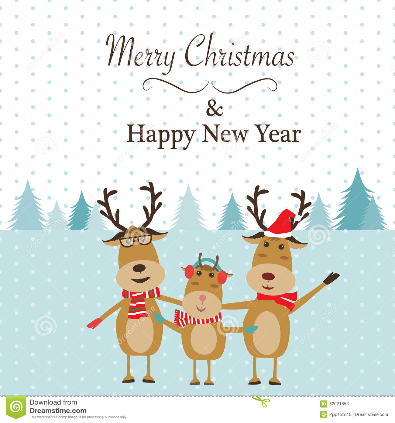 Reindeer Family Merry Christmas Stock Vector - Illustration of year ...