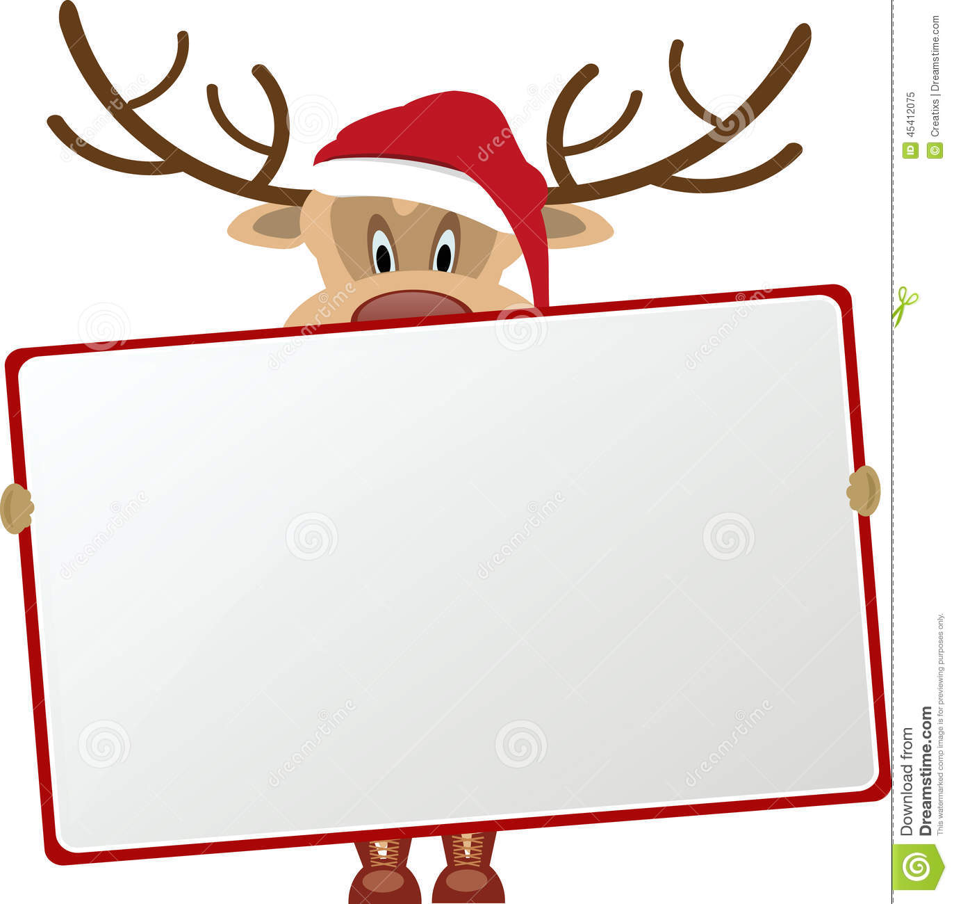 Reindeer holding blank sign stock illustration illustration of reindeer holding blank sign jeuxipadfo Choice Image