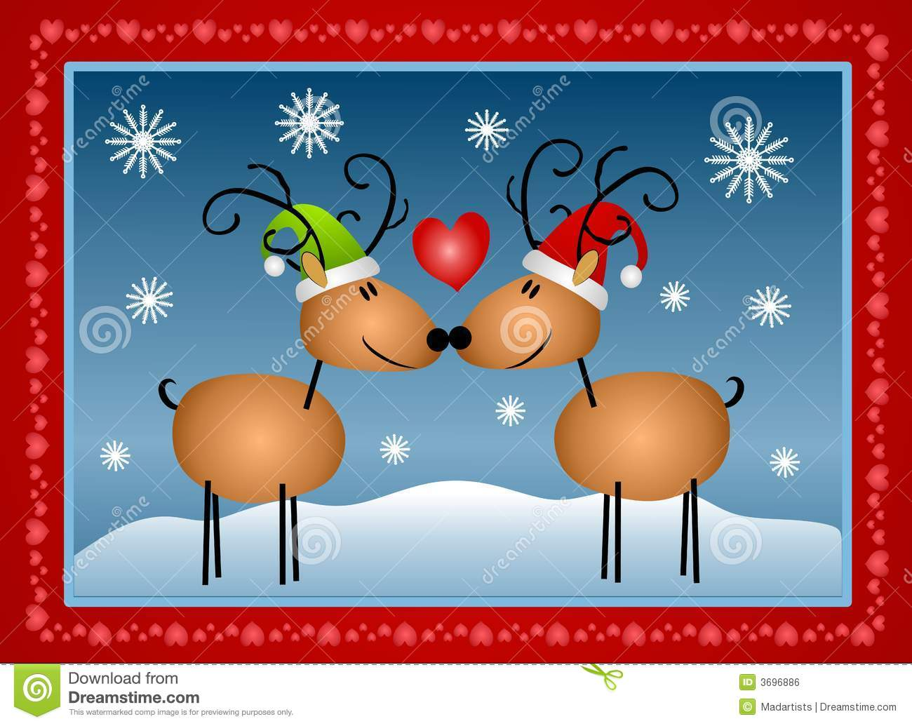 Reindeer in Love Christmas stock illustration. Illustration of cards ...