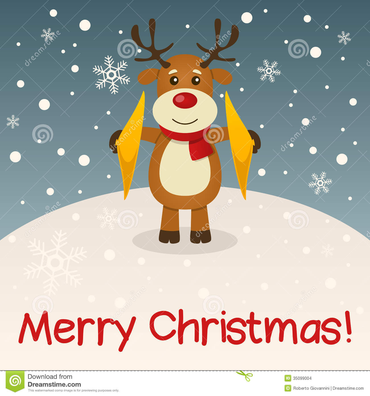reindeer merry christmas card stock images image 35099004