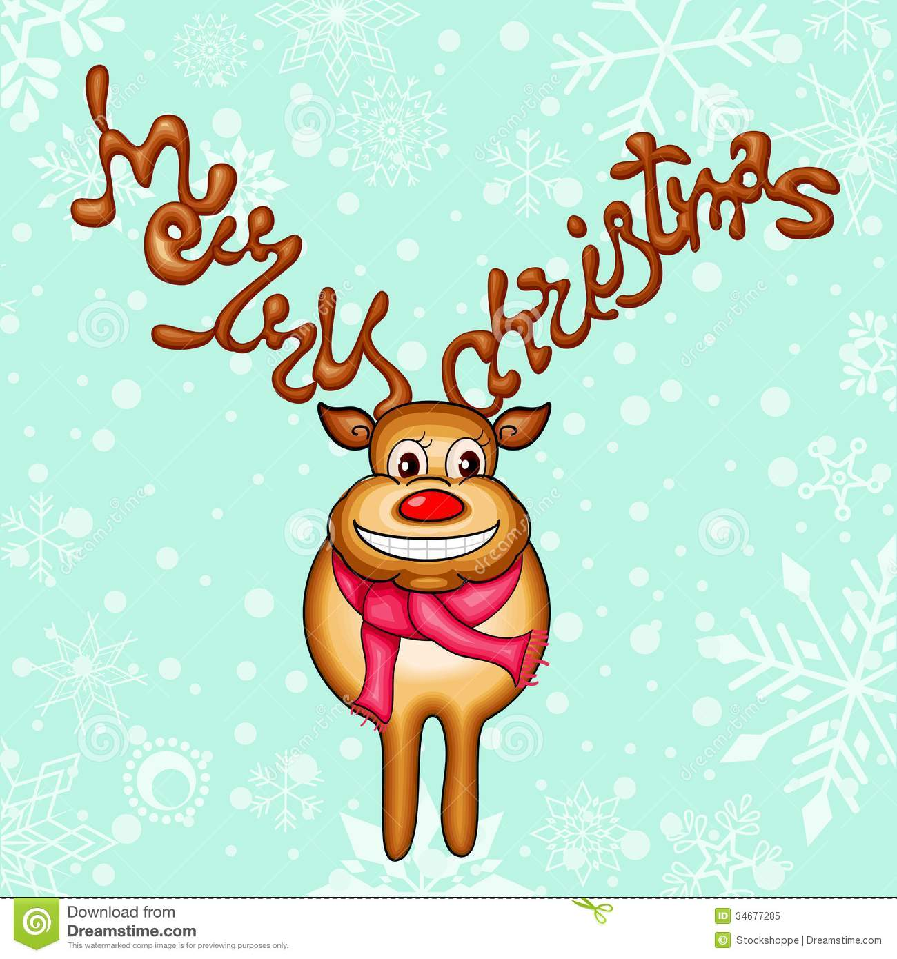 Reindeer With Merry Christmas Horn Royalty Free Stock Photo ...