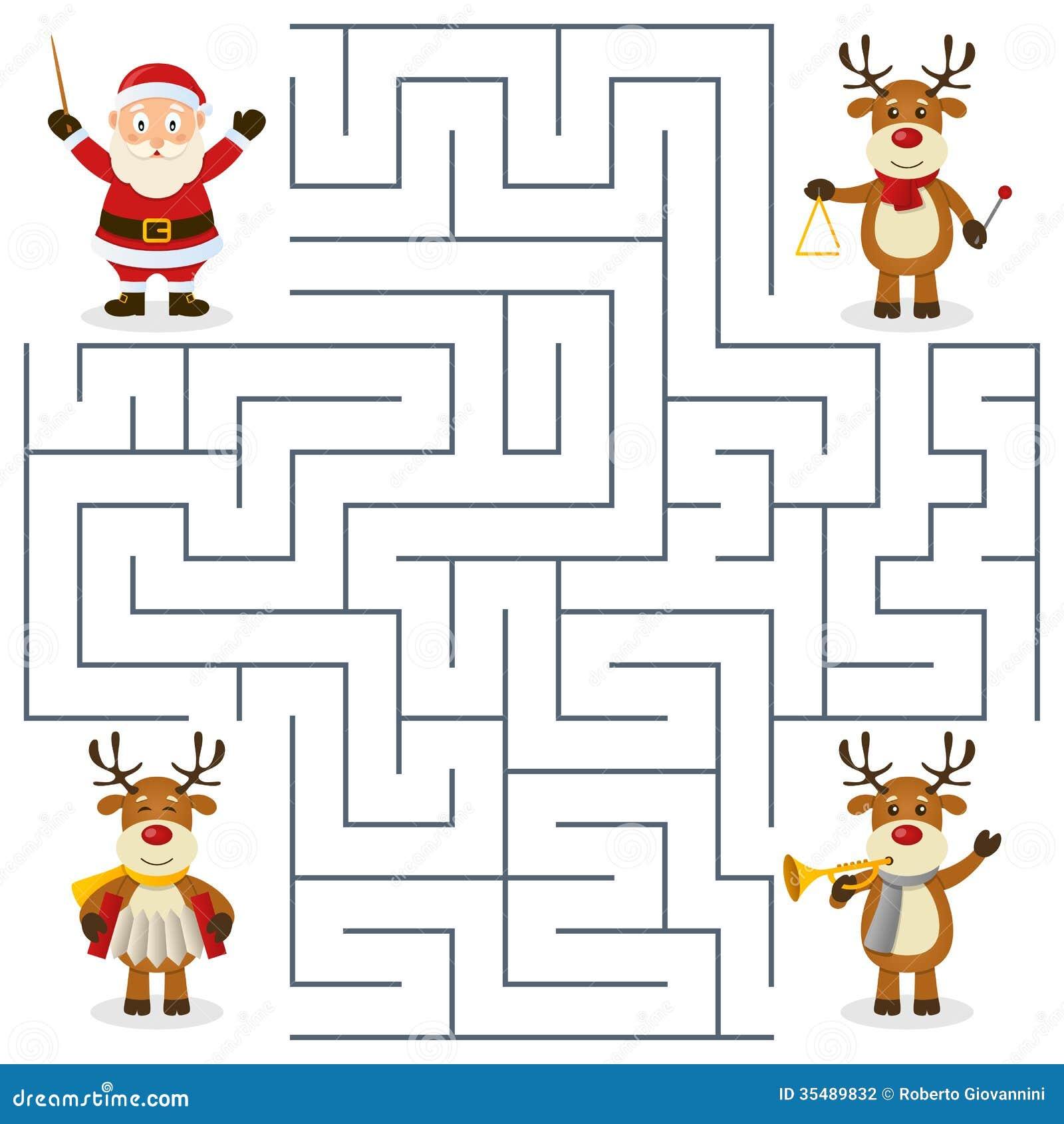 Reindeer Orchestra Maze For Kids Stock Vector - Illustration of ...