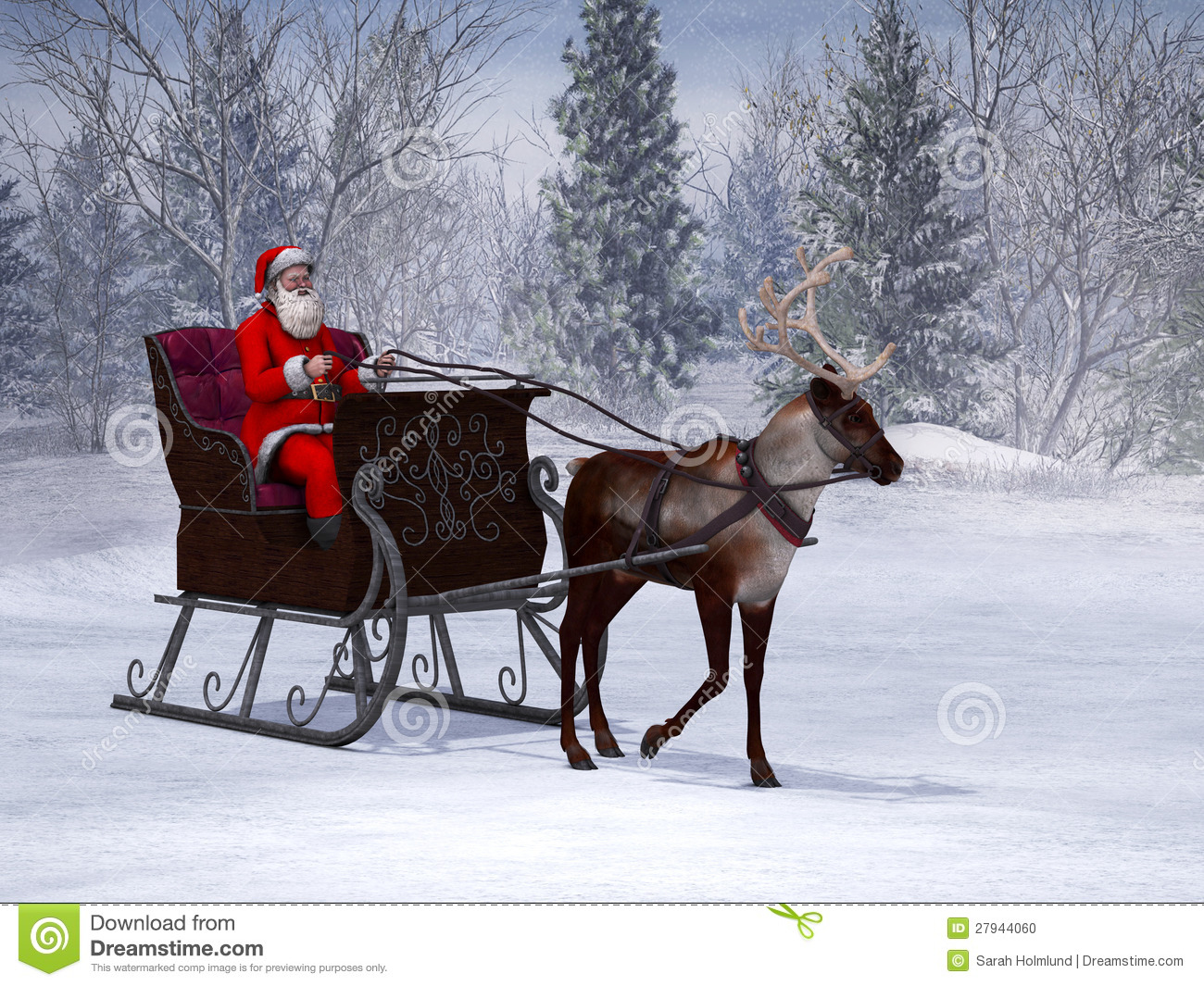 reindeer pulling a sleigh with santa claus stock illustration