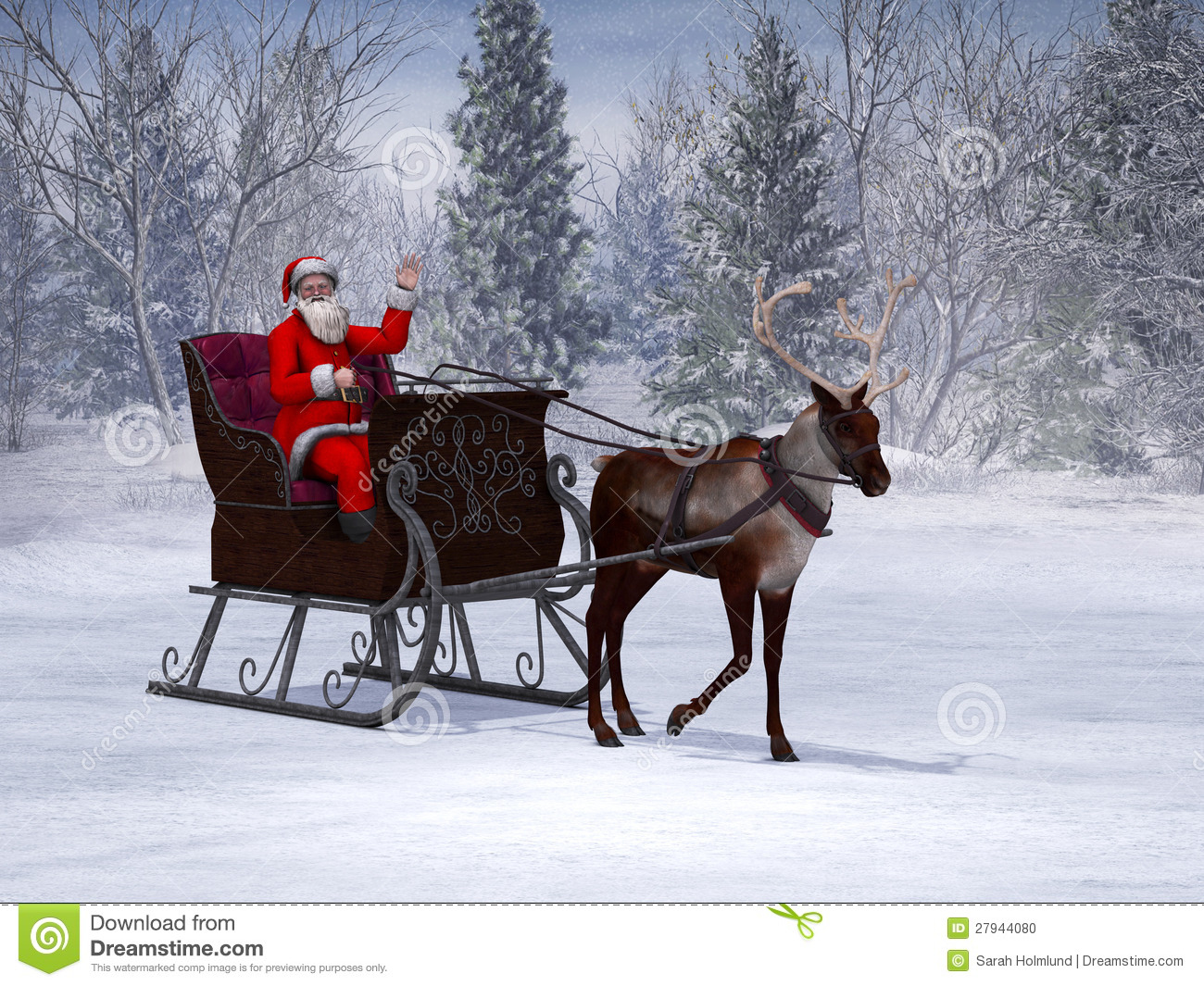 Reindeer Pulling A Sleigh With Waving Santa Claus. Stock Photo - Image ...