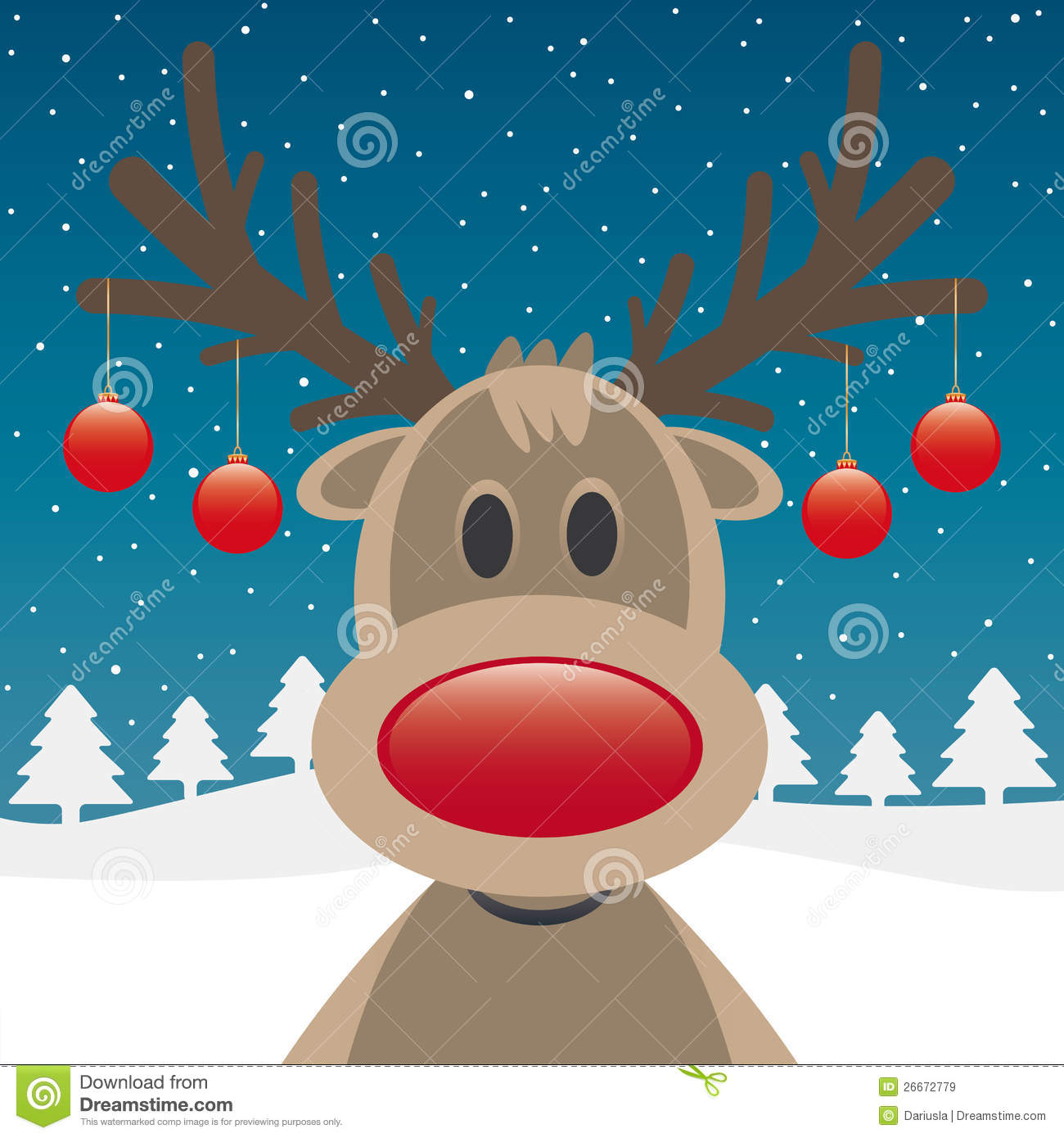Reindeer Red Nose And Christmas Balls Royalty Free Stock Images ...