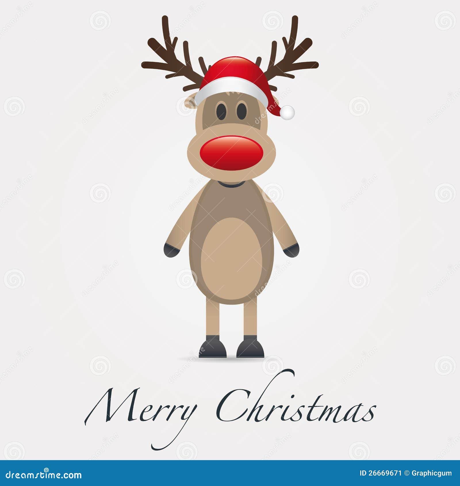 reindeer red nose santa claus hat animal alone - Reindeer And Santa