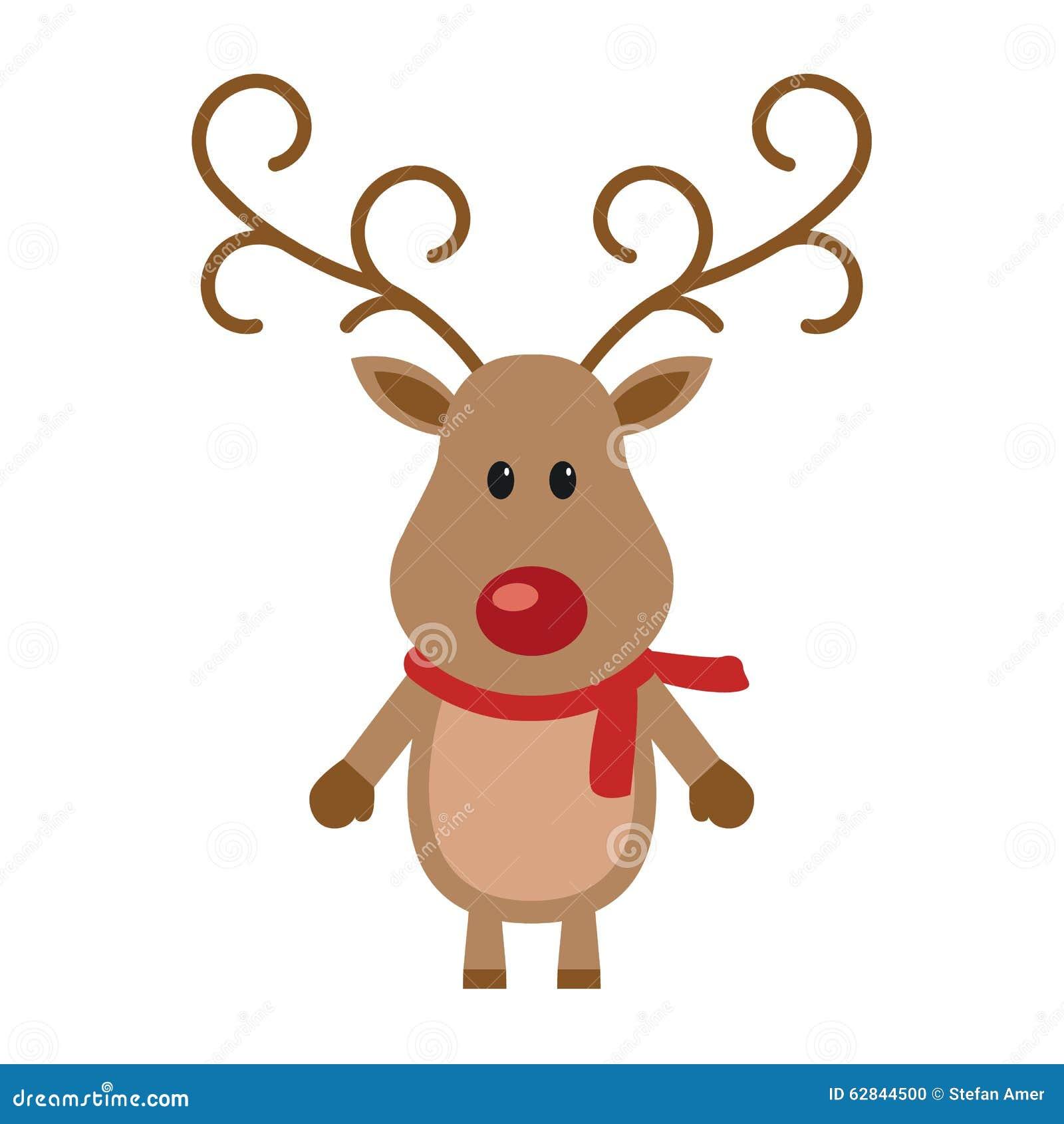 reindeer red nose with scarf stock vector illustration. Black Bedroom Furniture Sets. Home Design Ideas