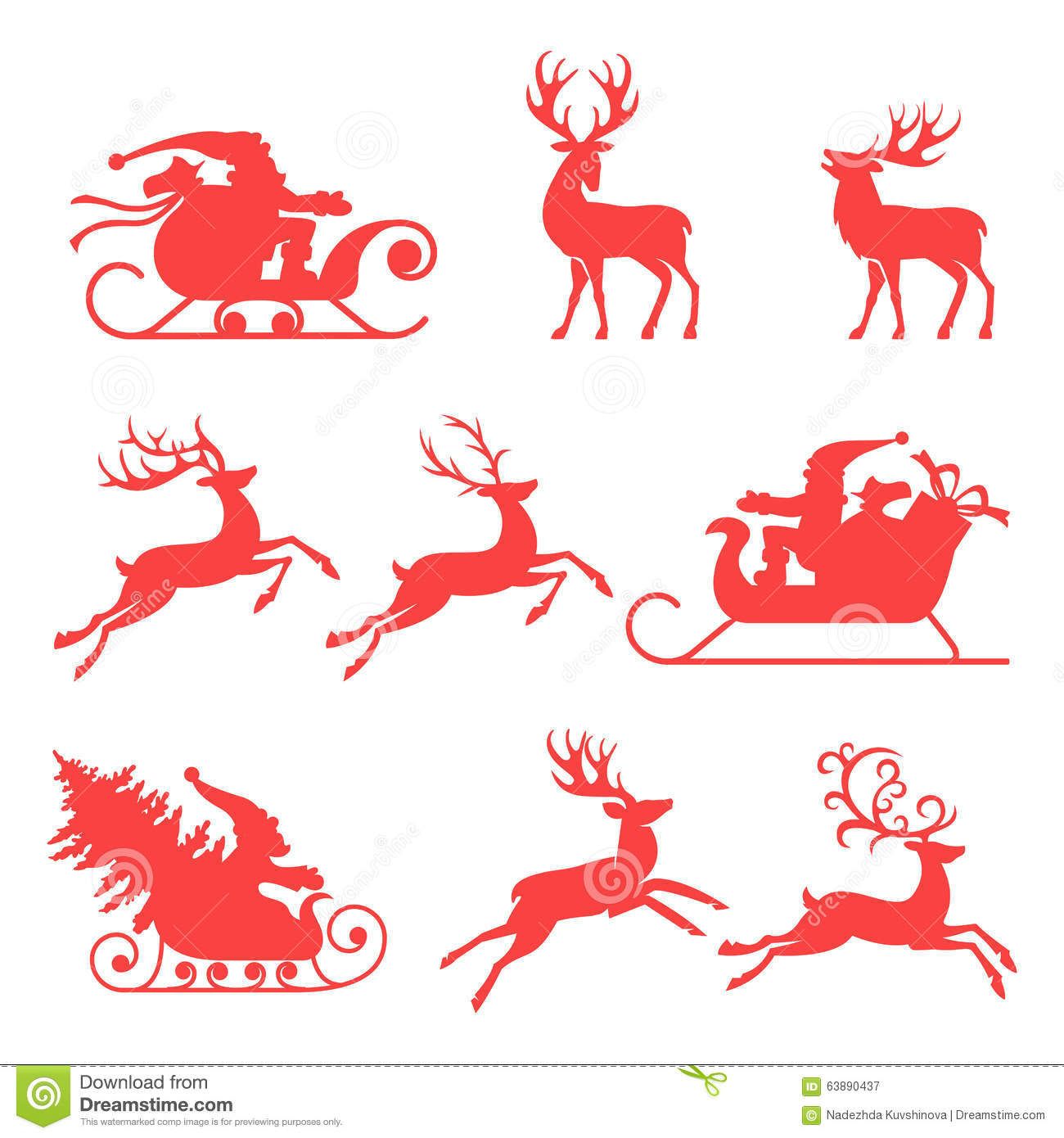 Reindeer And Santa Claus. Stock Vector - Image: 63890437