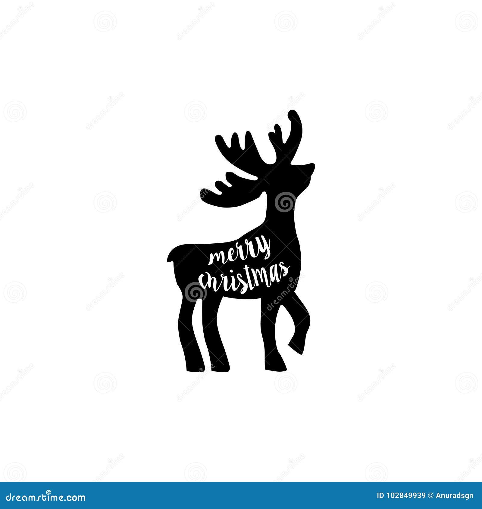 Christmas Reindeer Silhouette.Reindeer Silhouette Merry Christmas Stock Vector