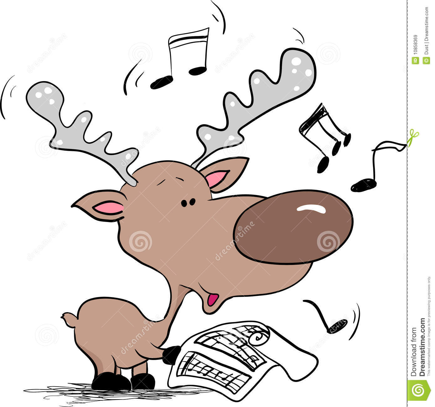 Reindeer Singing Christmas Song Royalty Free Stock Images - Image ...