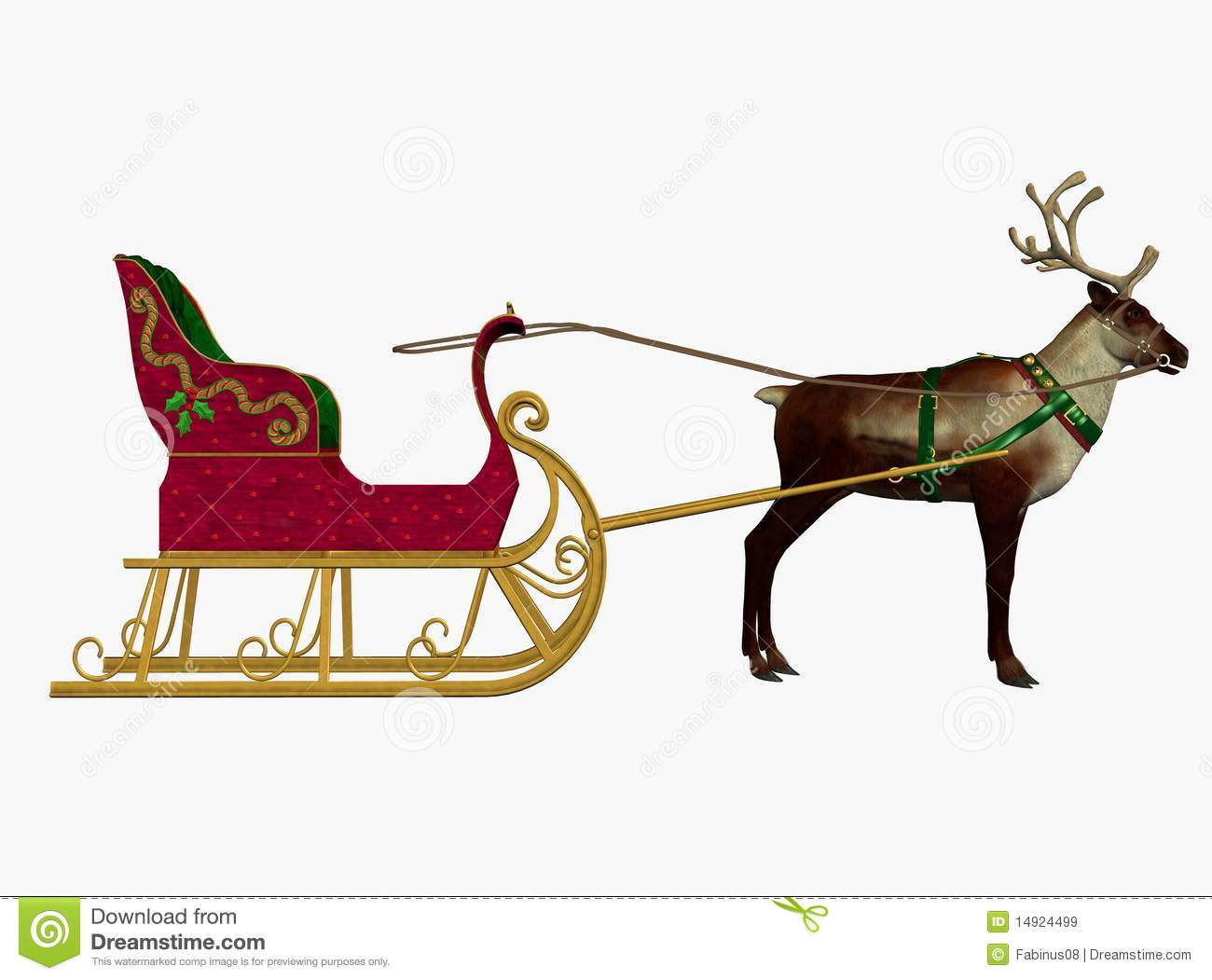 Royalty Free Stock Images: Reindeer and sleigh. Image: 14924499