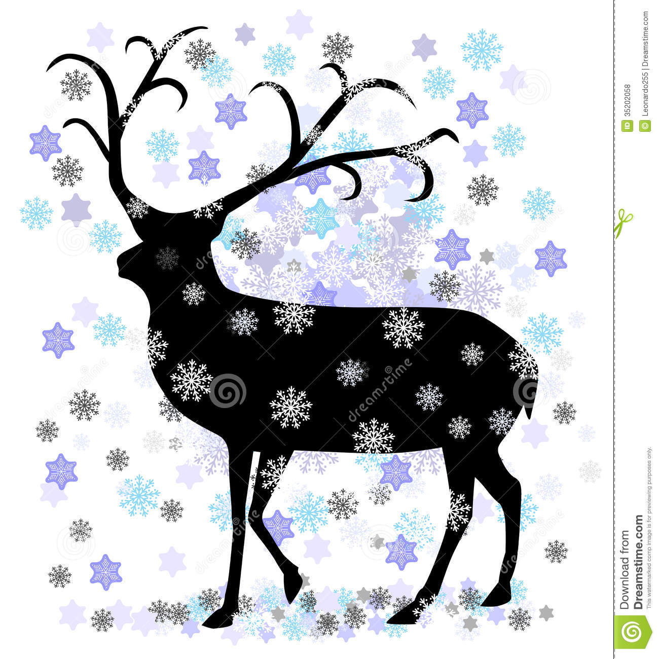 Reindeer With Snow Star Vector Illustration Royalty Free Stock Photos ...