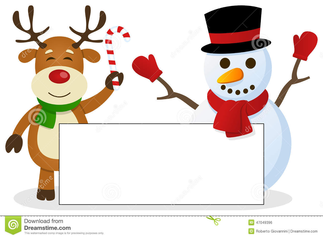 ... reindeer and a snowman holding a blank banner. Eps file available